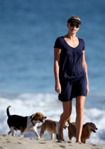 Charlize Theron and Her Mother Walk the Dogs on the Beach (No Germany No France)